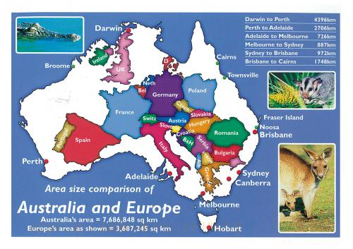 How many countries fit into the land mass of Australia