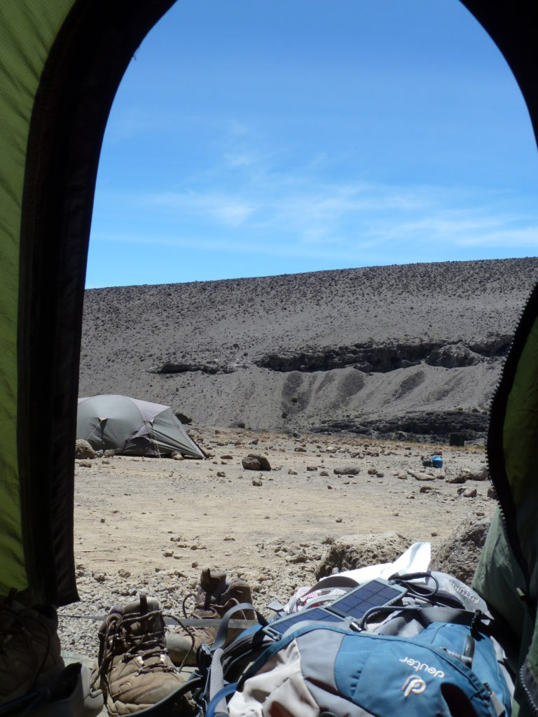 Climbing Mt Kilimanjaro - A Room with a View of Volcanic Rock (photo taken from inside the ten)