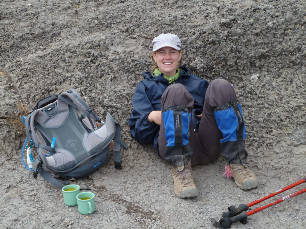 Climbing Mt Kilimanjaro - lunch break with chicken soup