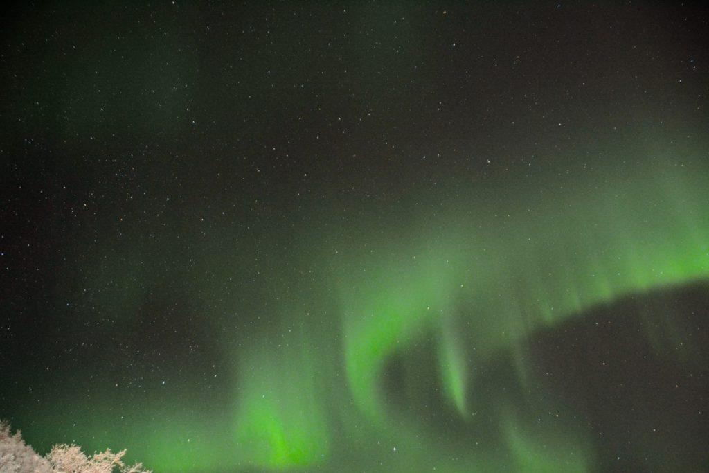 Illusive Northern Lights dancing at the Snowhotel, Kirkenes, Finland - January 2016
