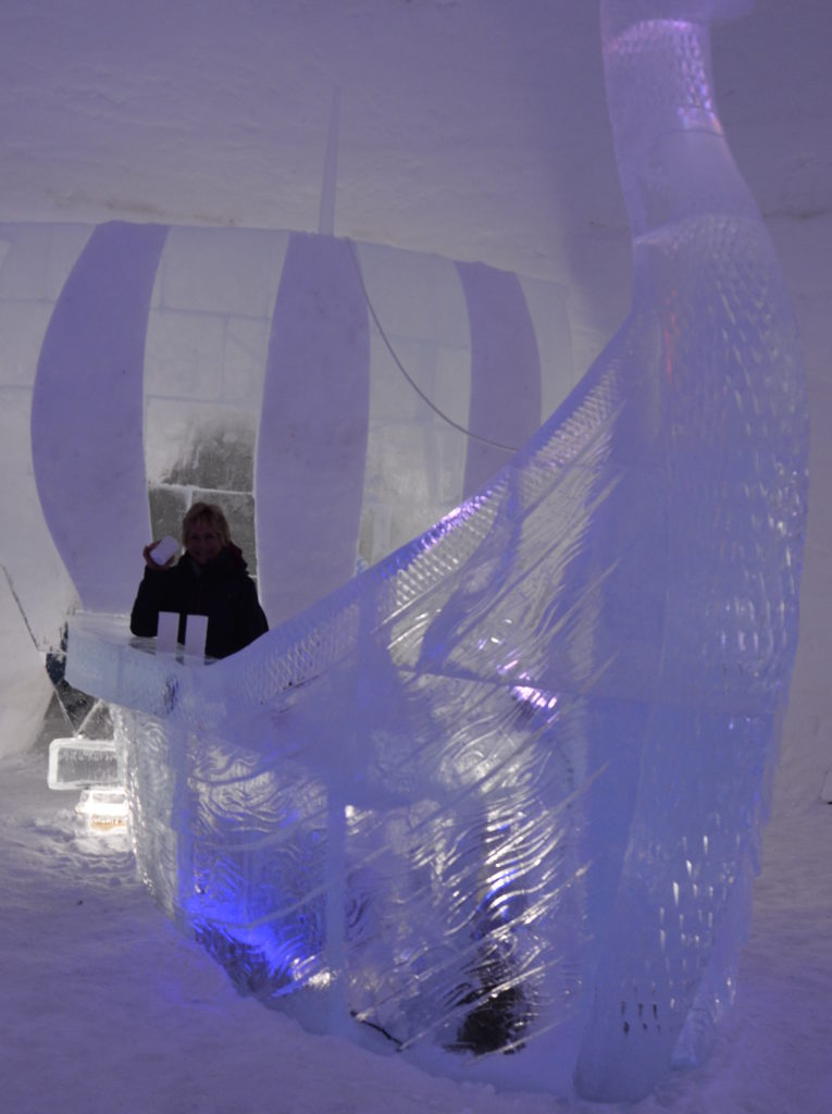 A shot of Vodka will warm the cockles of the heart at the Ice Bar of the Snowhotel, Kirkenes, Finland