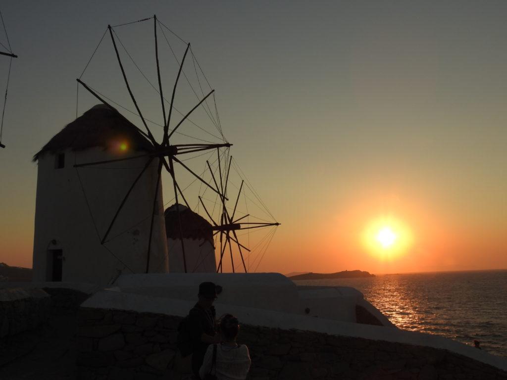 Magic Mykonos Windmills at Sunset. Mykonos also known as Island of the Wind. www.gypsyat60.com