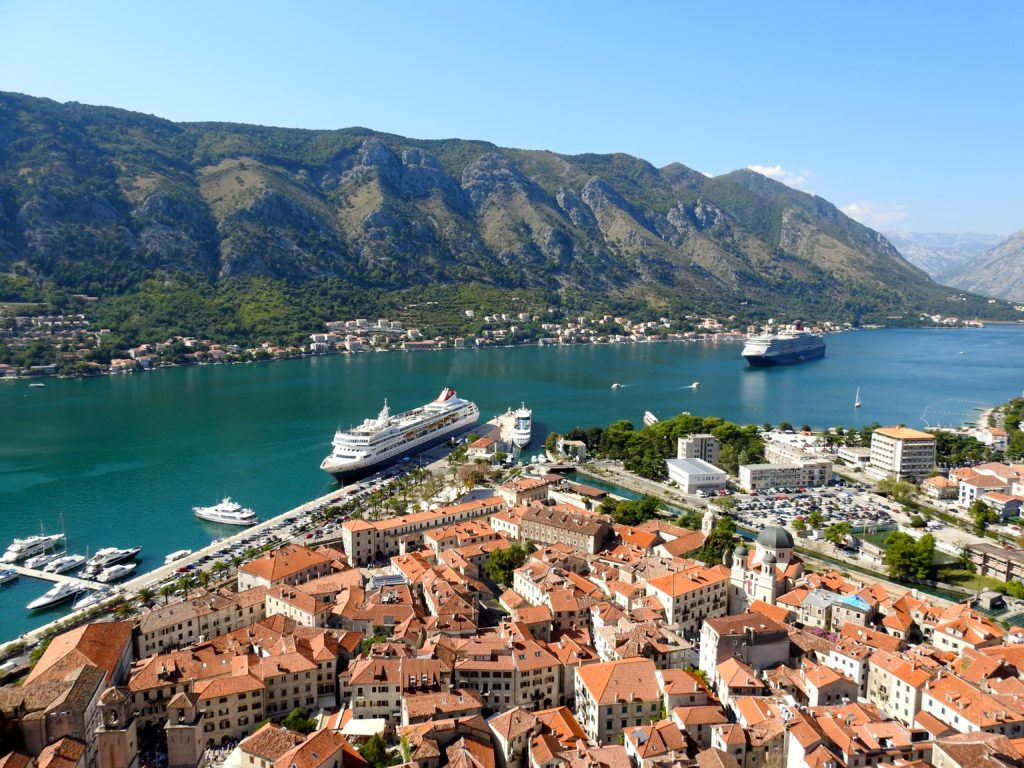Views of Kotor Bay from Halfway point on medieval wall walk from Kotor town, Montenegro to St John's Fort. www.gypsyat60.com