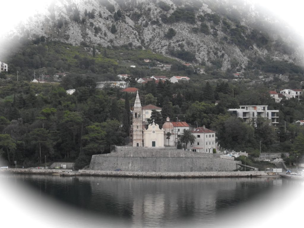 Bay of Kotor, Montenegro, Adriatic Coast - Our Lady of he Rocks Church being given a facelift. www.gypsyat60.com