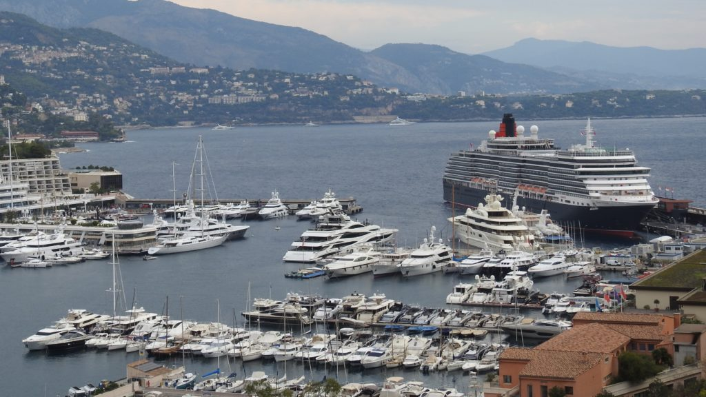 Queen Victoria sharing the Mote Carlo Harbour. www.gypsyat60.com