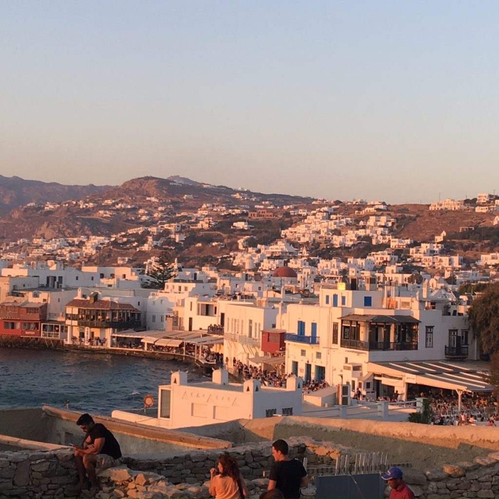 Sun setting on the Harbour at Mykonos, Green Islands. www.gypsyat60.com