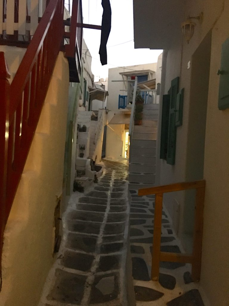 Mykonos town has a maze of alleyways. The labyrinth was planned to confuse pirates who were common in previous centuries. www.gypsyat60.com