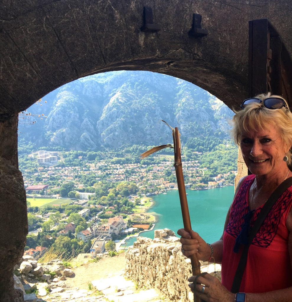 Having a stop on the climb up to the Old Fortress of Kotor, Montenegro. Bamboo stick helping #Gypsyat60 to get to the top. www.gypsyat60.com