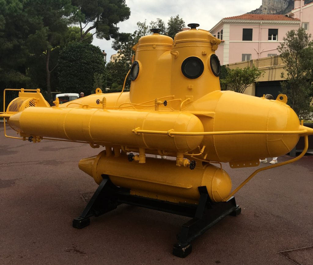 Replica of Jacques Cousteau's SP-350 Denise AKA Diving Saucer, located outside the Oceanographic Museum, Monte Carlo Monaco. www.gypsyat60.com