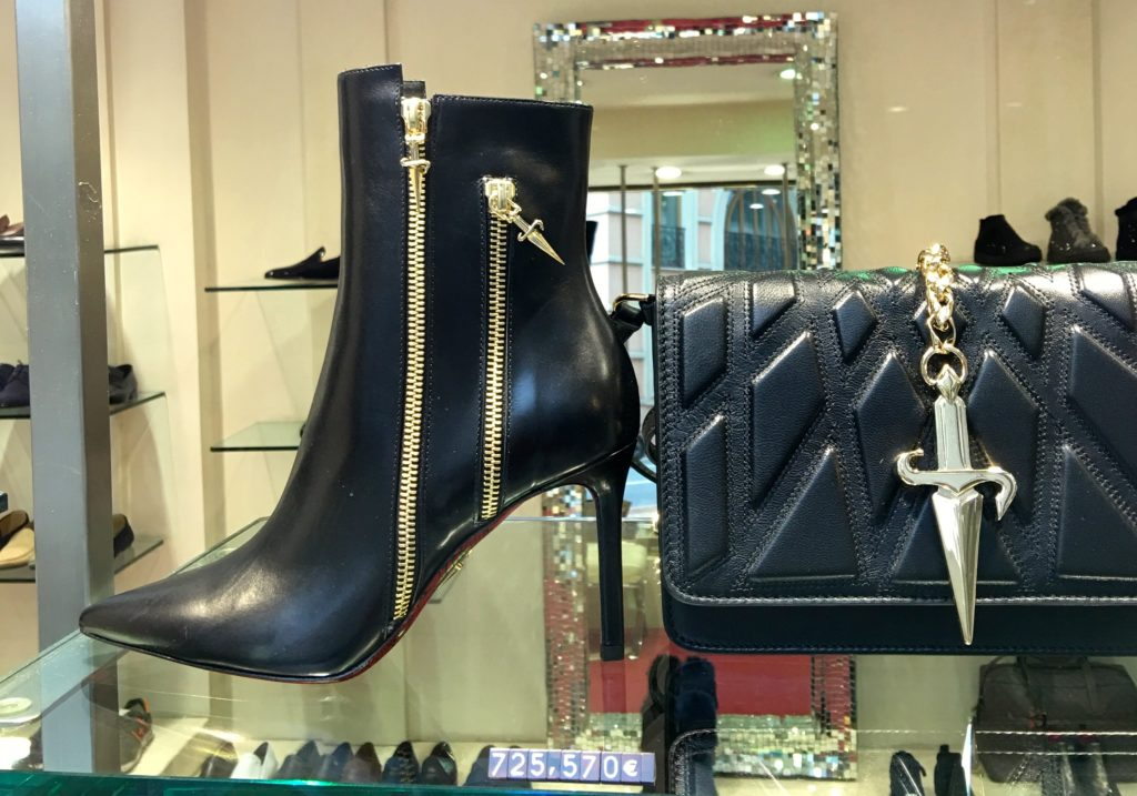 Monte Carlo shopping. Boots for sale with huge price tag. www.gypsyat60.com