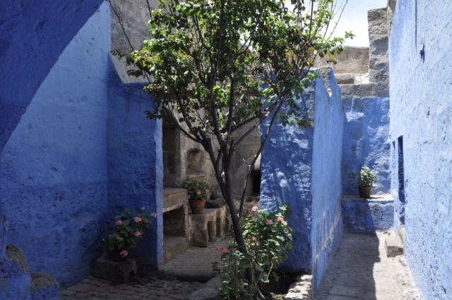 Brilliant walls of blue at Saint Catalina Monastery, Araquipa, Peru, South America. www.gypsyat60.com