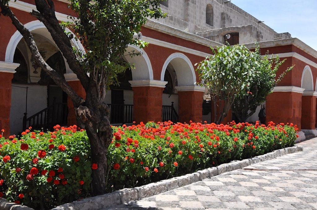 Red Geraniums border the Main Cloister at Saint Catalina Monastery, Araquipa, Peru, South America. www.gypsyat60.com