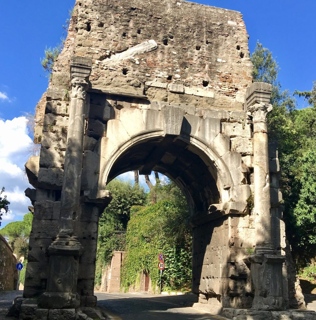 Arch of Drufus, Appian Way, Rome. The ancient acquaduct system used to over the top of the arch. www.gypsyat60.com