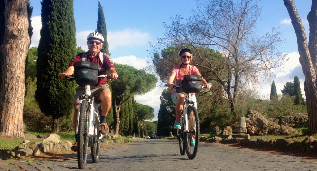 Riding along the ancient Appian Way where the stones weren't so rough as other parts of the 2,300 road. www.gypsyat60.com