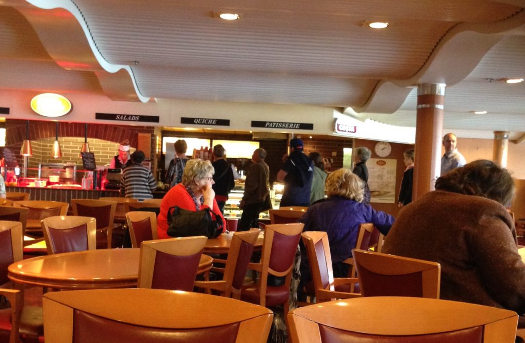 The dining room of the Irish Ferry from Hollyhead to Dublin. www.gypsyat60.com