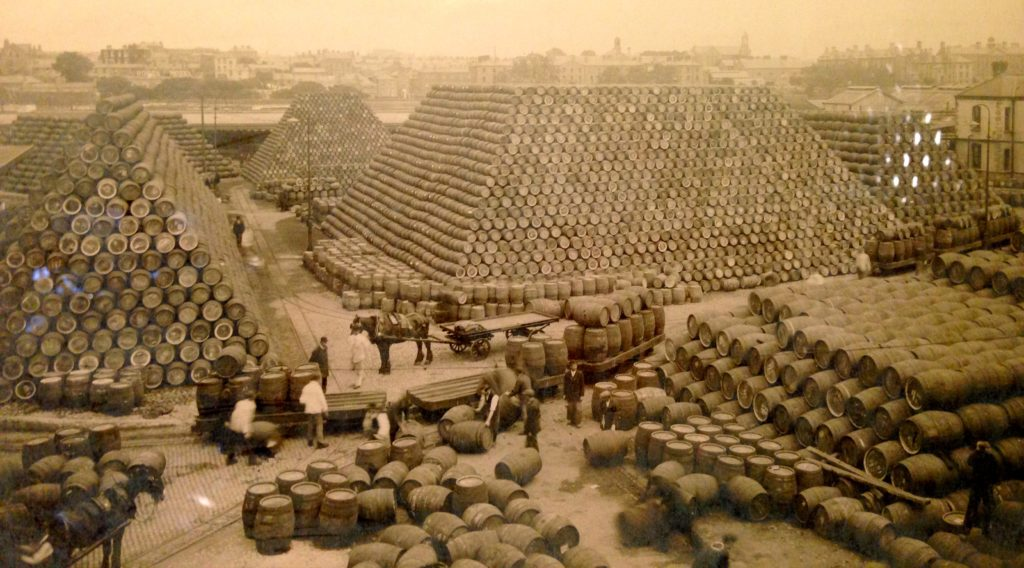 A few barrels of Guiness ready to send around the world in the late 1700s. gypsyat60.com