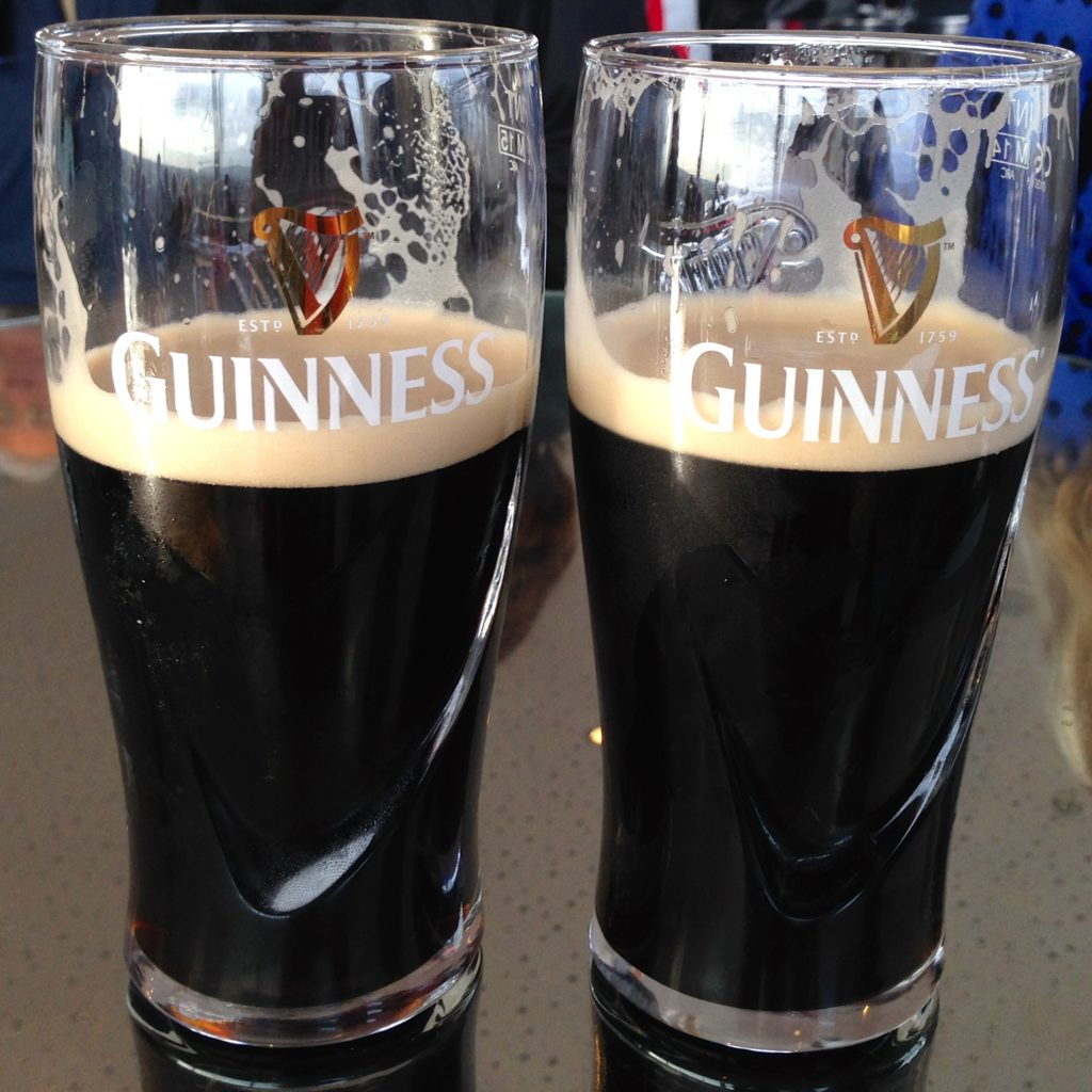 Complimentary glasses of Guiness after an extensive tour of the Storehouse, Dublin, Ireland. www.gysyat60.com