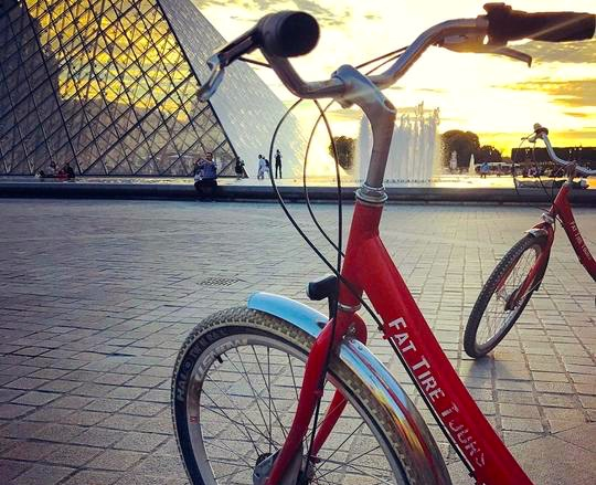 Fat Tire Bike - asked at the Louvre, Paris with sunset approaching.