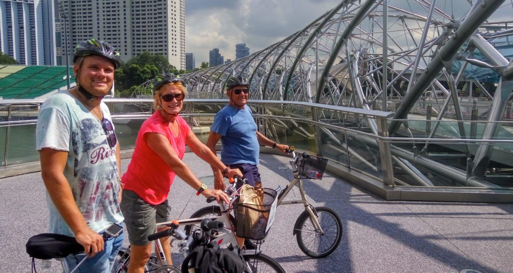 Quick stop on bike tour, Singapore, at the Helix Bridge. www.gypsyat60.com