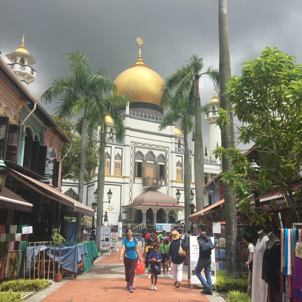 Sultan Mosque, Kamlog Glam, Singapore. Afternoon storm clouds loom in the background. www.gypsyat60.com