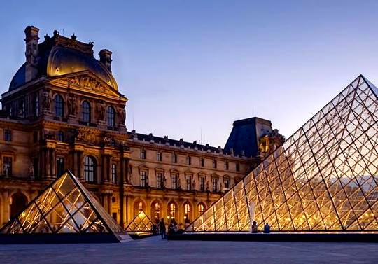 The Louvre Museum, Paris, at sunset.