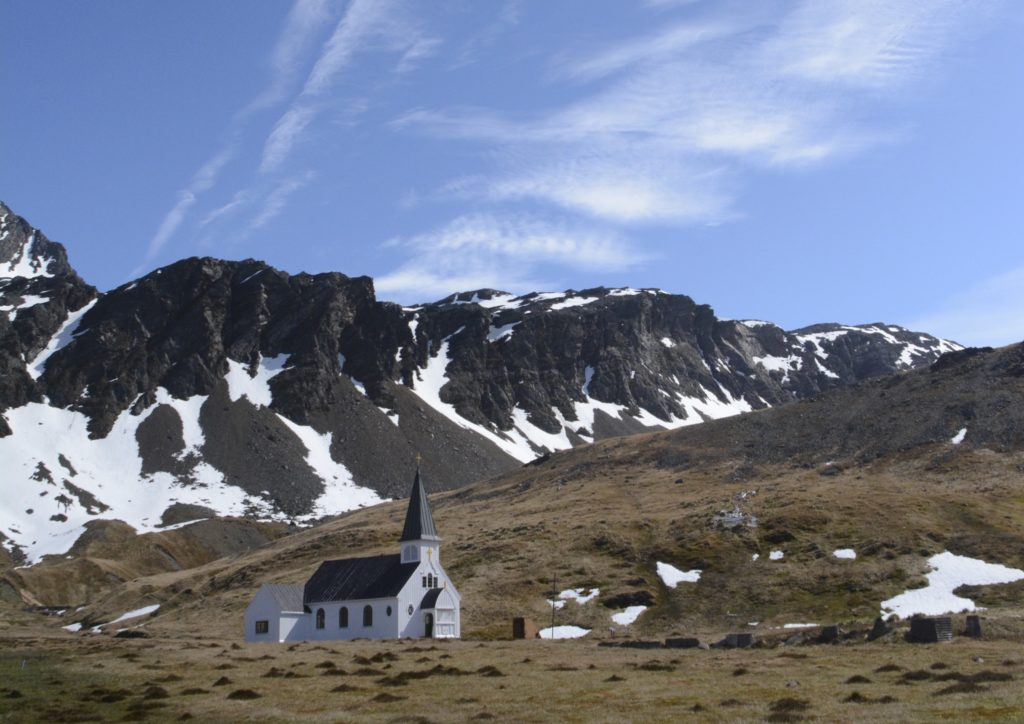 Norwegian Lutheran Church, settlement of Grytviken, South Georgia. Sitting at the bottom of the Mighty South Georgian Mountains. Also called the Whalers Church. www.gypsyat60.com