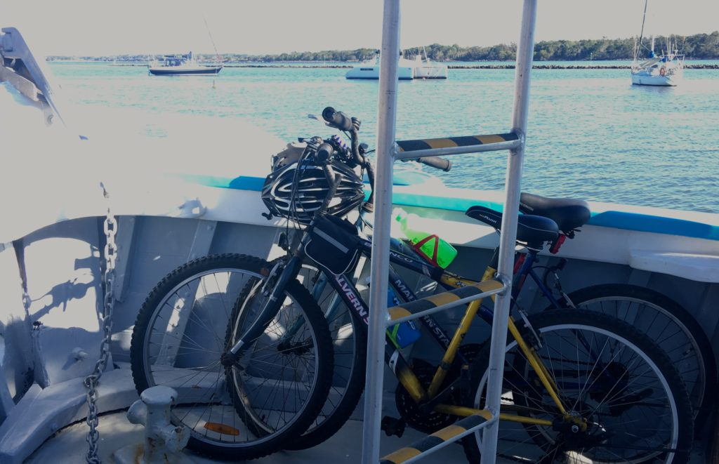 Bikes parked ready for riding at Iluka after the ferry ride from Yamba, New South Wales. www.gypsyat60.com