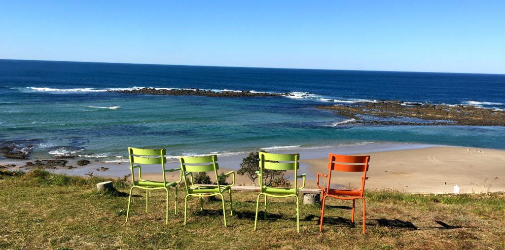 Empty chairs on cliff top ready for Happy Hour Minnie Water, New South Wales, Australia. www.gypsyt60.com