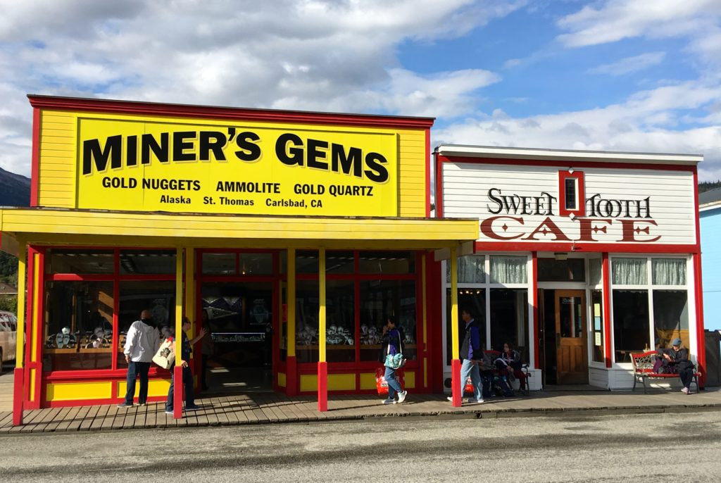Miner's Gems shop at Skagway - the town is all about gold. www.gypsyat60.com