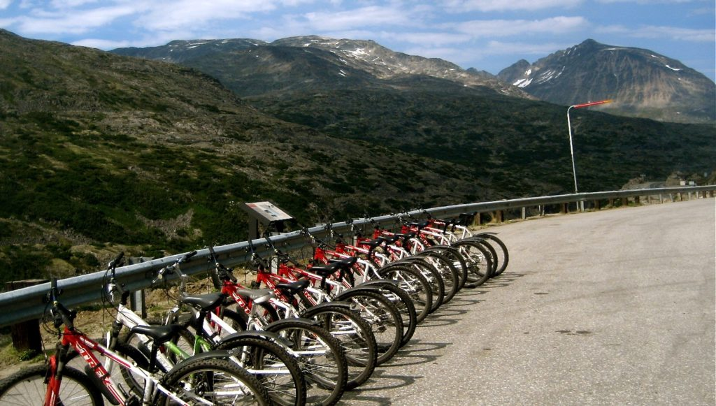 Bike tours set up by Sockeye Bicycle Tours, White Pass Summit tour, Skagway, Alaska.