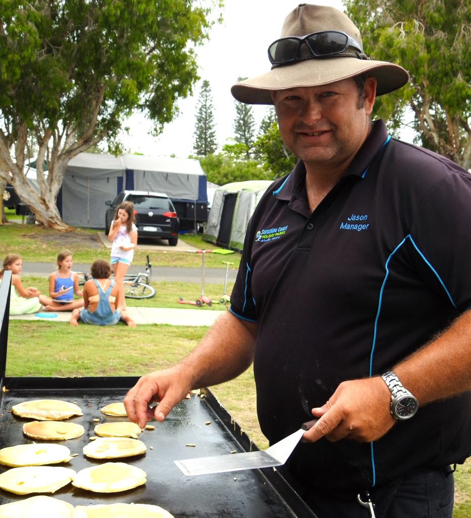 Coolum Beach Holiday Park provides pancakes for a gold coin donation for local charities. www.gypsyat60.com
