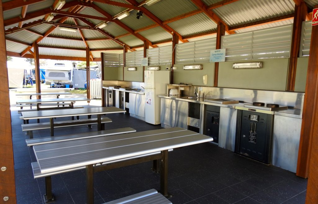 Well fitted out camp kitchen at Coolum Beach Holiday Park, Coolum, Queensland, Australia. www.gypsyat60.com