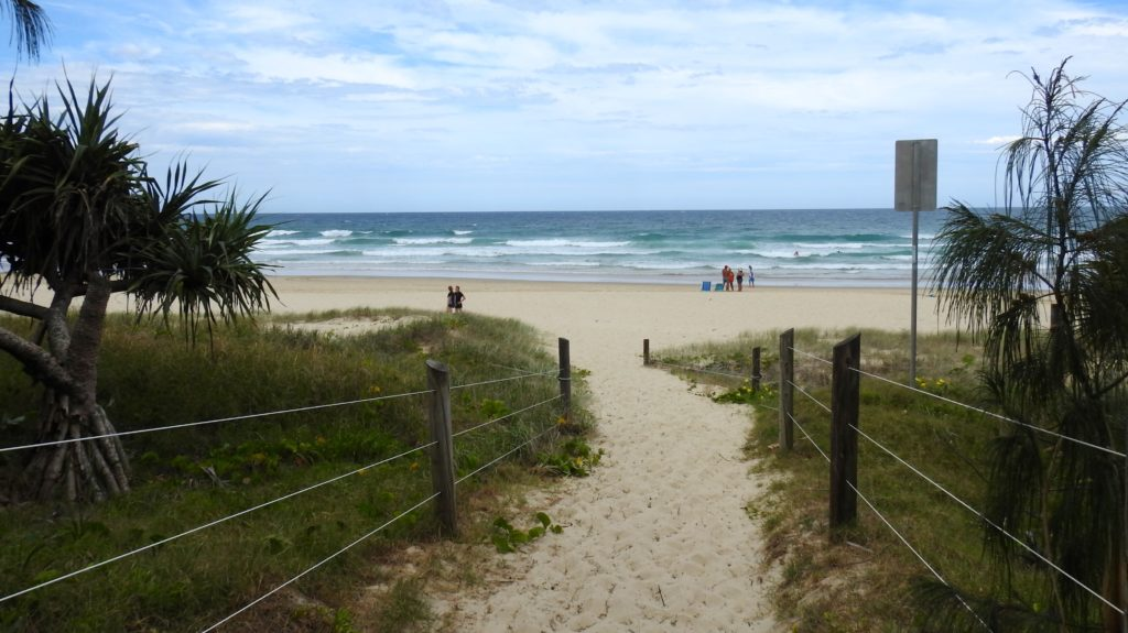Walkway over the sand dunes to Coolum Beach from the Coolum Beach Holiday Park, Queensland, Australia. www.gypsyat60.com