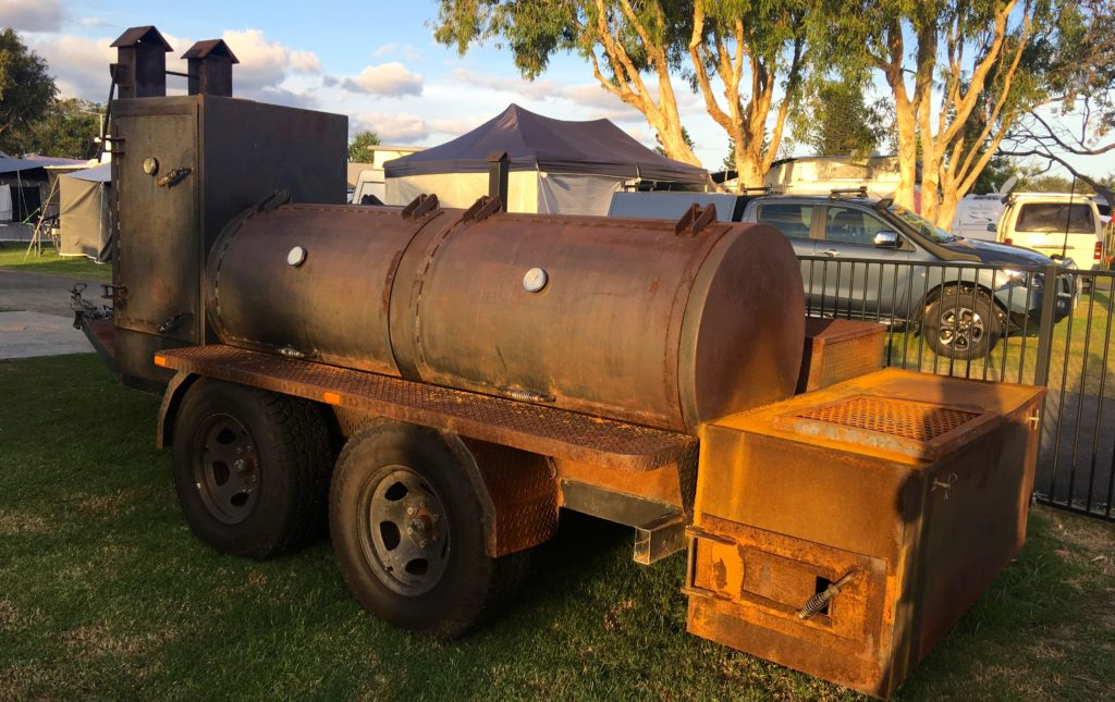 The Smoker at the Caboolture Park Caravan Park that gets fired up over the Christmas holidays and also for Christmas in July. Delicious roasts are cooked in this massive old girl. www.gypsyat60.com